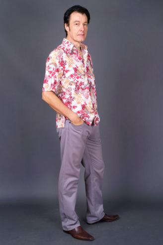 Man wearing Hawaiian shirt