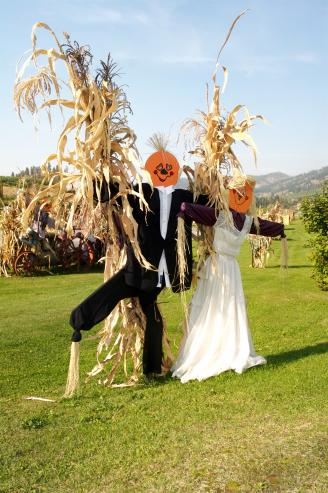 Roadside Bride and Groom Scarecrows