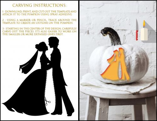 Bride and Groom Pumpkin Carving Template