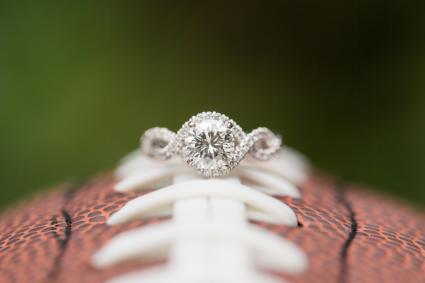 Diamond Engagement Ring on Football