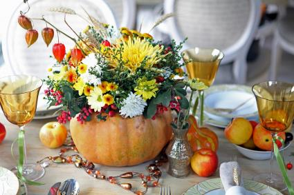 Wedding reception table with an autumn theme