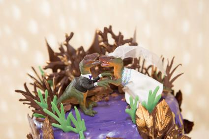 Chocolate cake with dinosaur bride and groom toppers