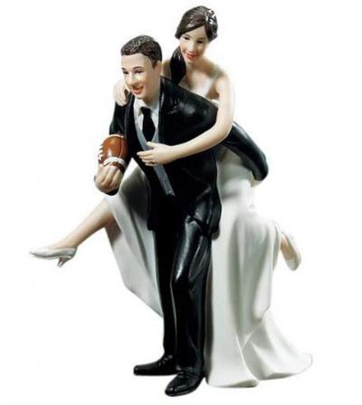 Football Wedding Couple Figurine