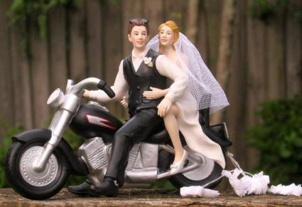 Motorcycle Biker Wedding Cake Topper