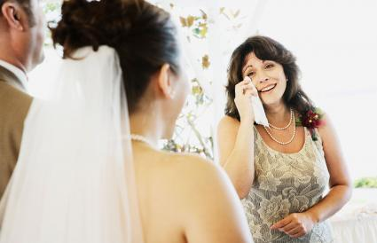 Crying woman watching bride walk down aisle