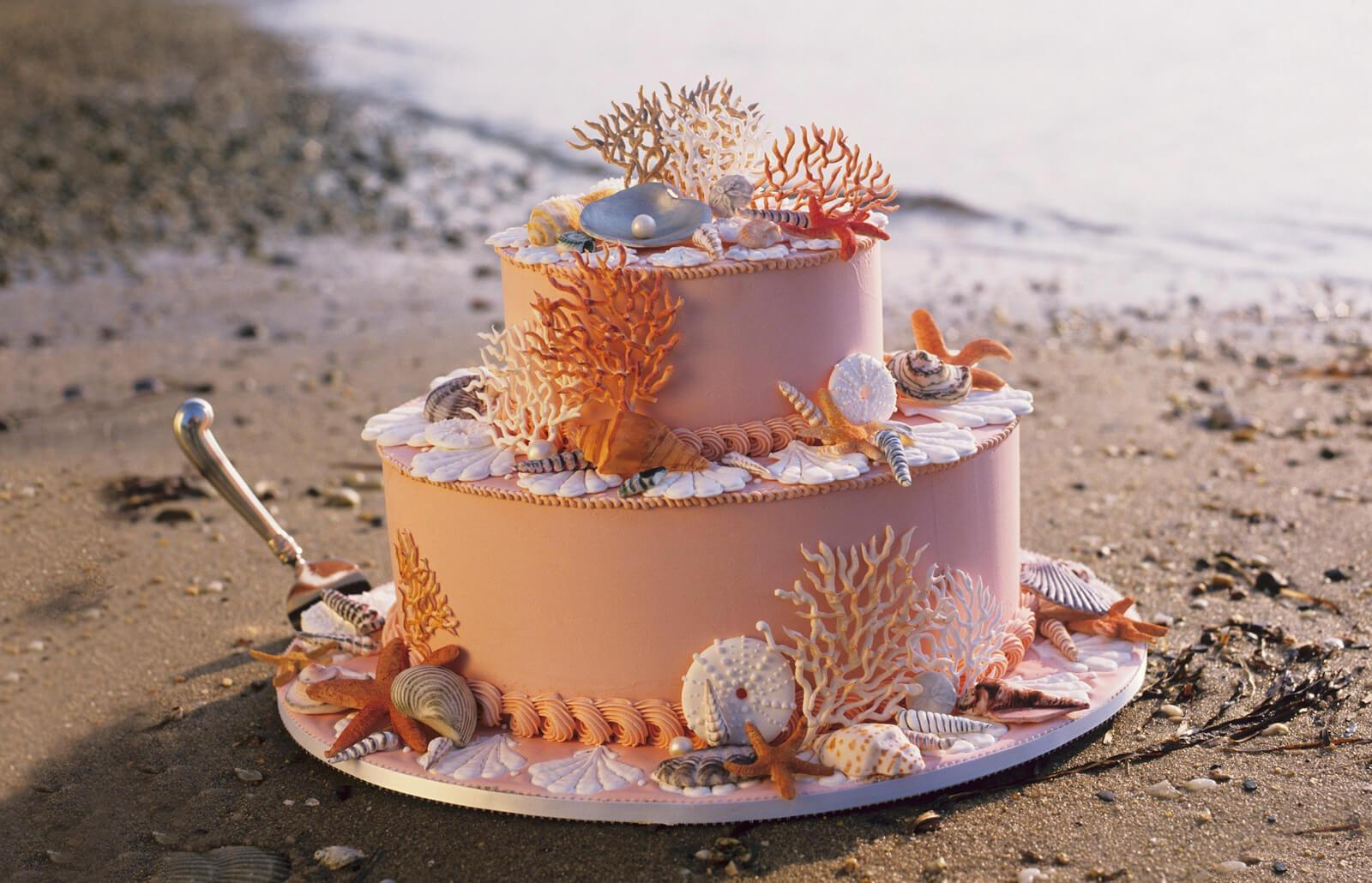 beach wedding cakes | lovetoknow
