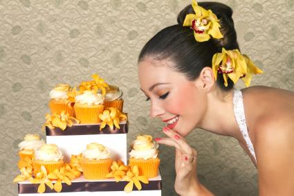 Future bride with orange cupcakes