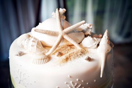 Ocean Theme Wedding Cake with Shells, Starfish