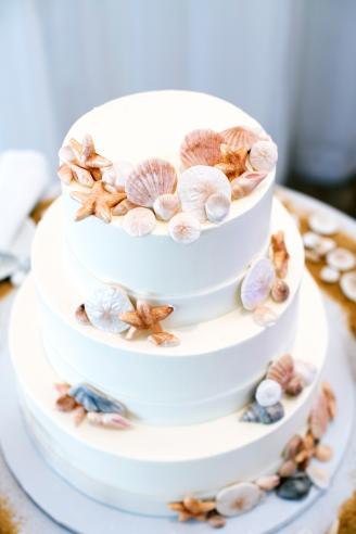 White Wedding Cake with Beach Decor