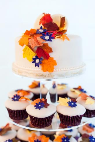 Bright coloured fall themed cupcakes and a cake at a wedding celebration