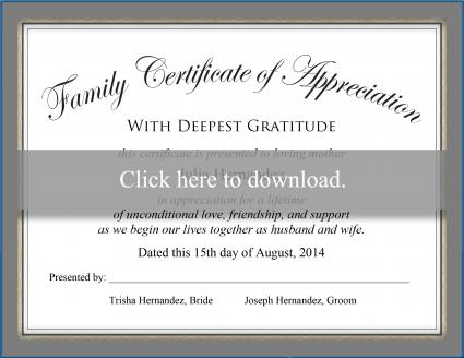 Click to download the family certificate.