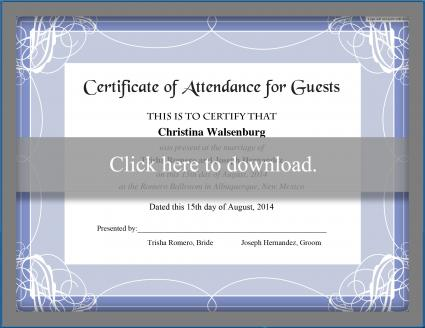 Click to print the guest certificate.
