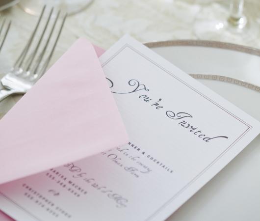 Wedding invitation printed with an elegant font