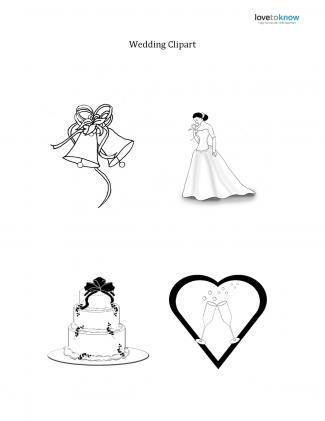 Black and white wedding clipart