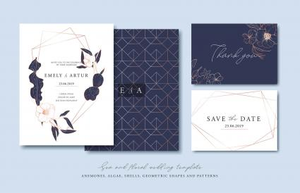 Set of cards with sea elements