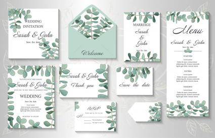 Wedding invitation leaves
