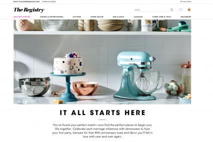 Screenshot of bloomingdales wedding registry
