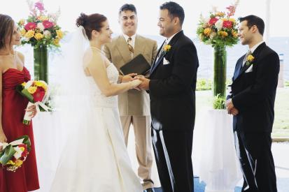 Wedding ceremony happy couple