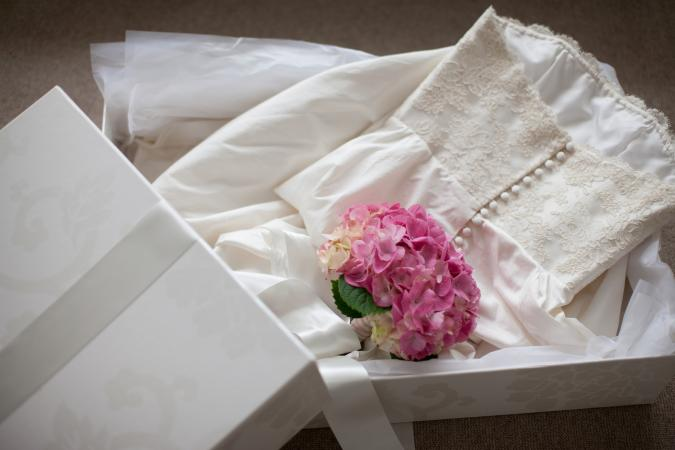 Wedding dressed being stored in a box