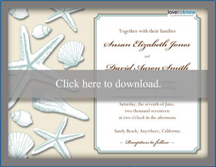 Beach Wedding Invitation Shells
