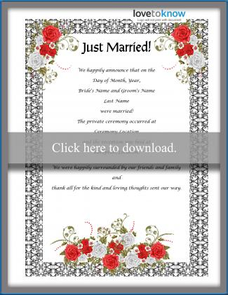 Just Married wedding announcement