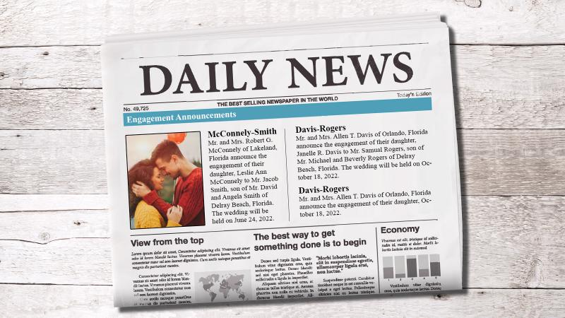 Wedding announcements in a newspaper