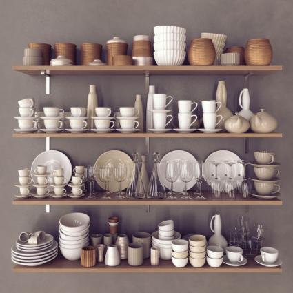 Kitchenware on wood shelves