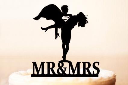 Mr & Mrs Superman wedding topper