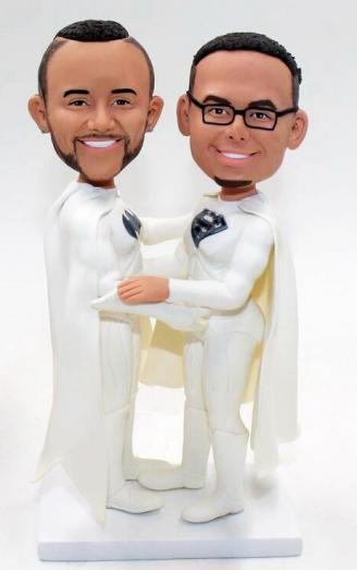 Superman gay wedding cake topper