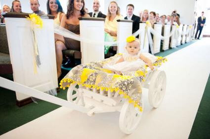 wedding wagon with young flower girl