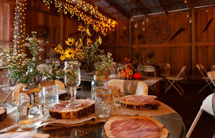 Barn wedding set up for guests