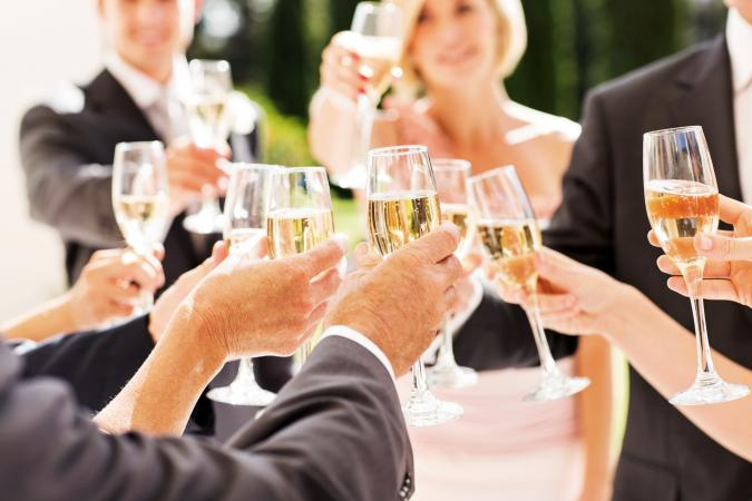Guests toasting the bridal couple at the reception