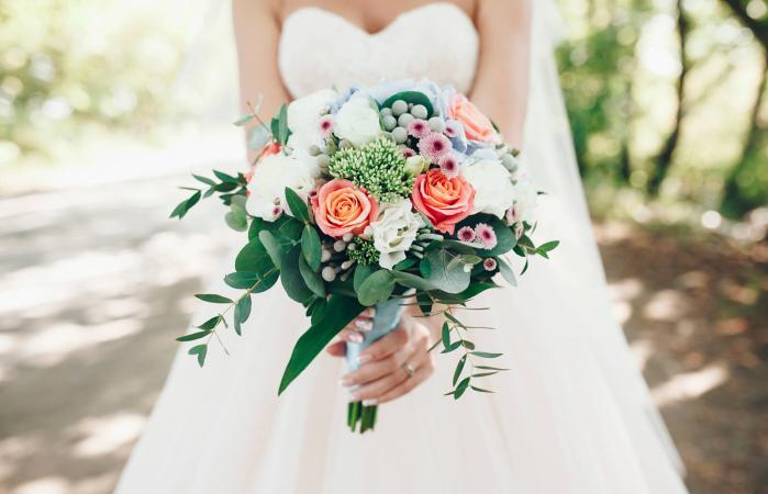 Pink and white rose spring wedding bouquet