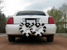 Just Married sign on a white limo