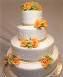 4-tier wedding cake with orange roses
