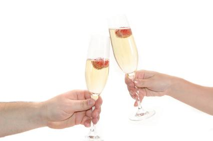 Toasting the wedding with glasses of Champagne