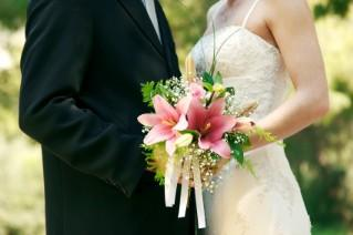 Groom with bride wearing an embellished sundress