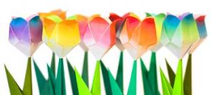 Origami tulips for wedding favors