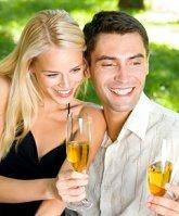 Couple enjoying Champagne at their bridal shower