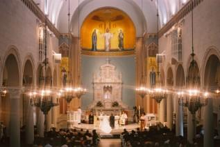 Traditional wedding ceremony in Catholic church