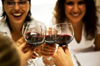 friends at wine tasting party
