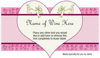 Cupids and Hearts Wine Label