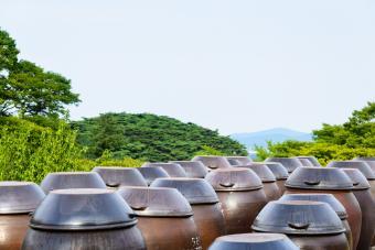 Crocks of raw rice wine (Makgeolli)