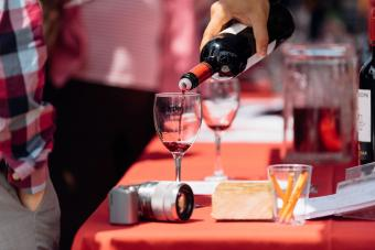 Pouring wine at Montpelier Wine Festival