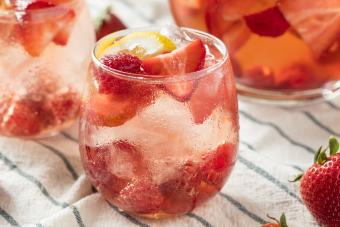 Pink Champagne punch with berries