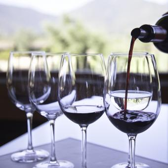 Small pours at a wine tasting event