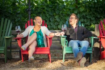 Couple drinking wine in Sonoma