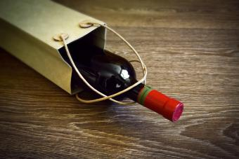 Gift bag with red wine