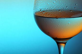 Chilled glass of white Zinfandel wine