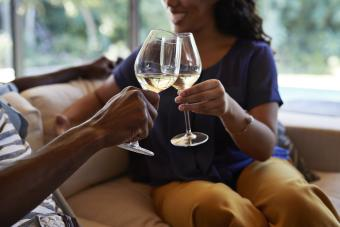 Toasting with white wine